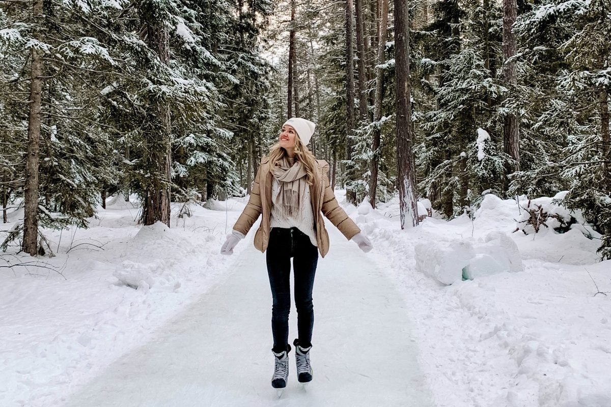 Ice Skating through Swiss Alps forest