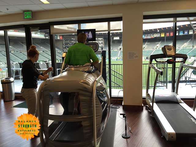 Image of man doing an air treadmill workout
