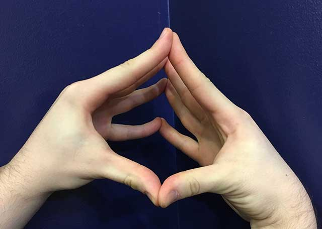 Image of hands in an open steeple hands yoga strengthening position