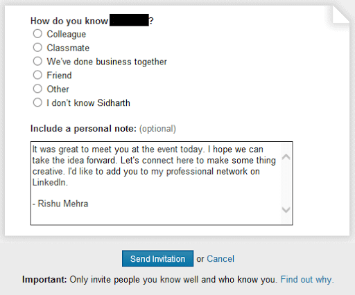 Personalized invitation message on LinkedIn