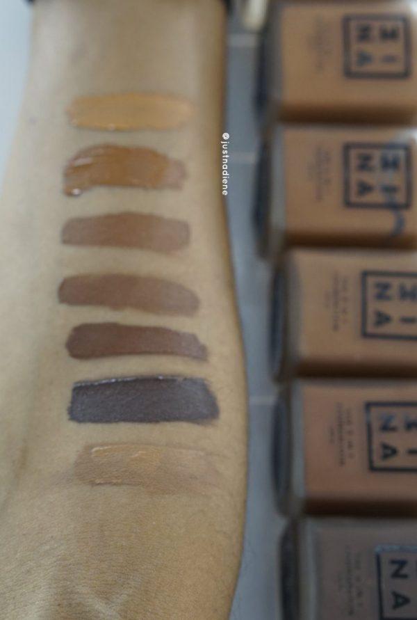 3ina foundation range swatch