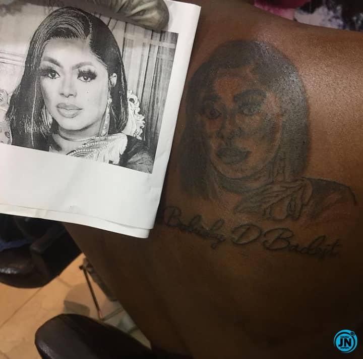 Bobrisky Reacts As Man Draws Tattoo Of Him On His Back (Photo/Video)