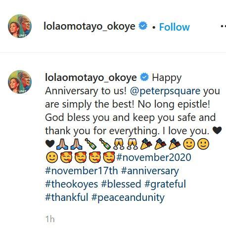Peter Okoye and wife, Lola Omotayo celebrate 7th wedding anniversary