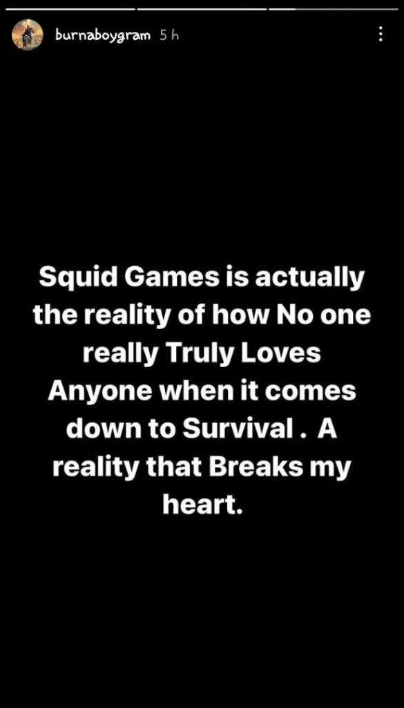 """""""No one truly loves anyone when it comes down to survival"""" — Burna Boy on Squid game lessons"""