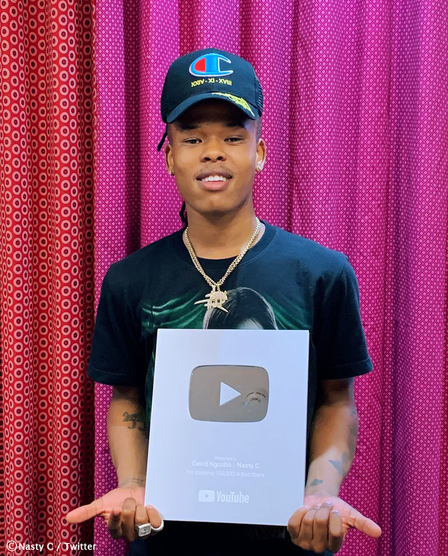 Nasty C receives YouTube Silver Play Button plaque