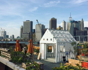 The Swale floating food garden docked at Brooklyn Bridge Park at Pier 6.
