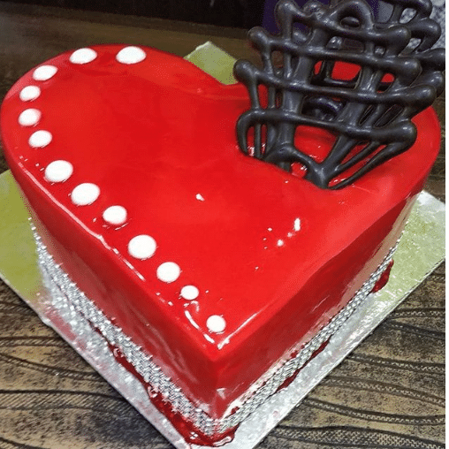 Heart Shape Red Cake With Chocolate