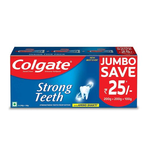Colgate Strong Teeth Toothpaste - 500g Saver Pack.