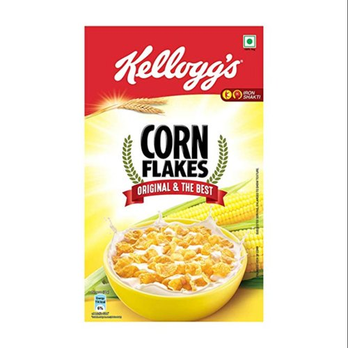 Kellogg's Corn Flakes Original is a nourishing breakfast cereal at its very best. Every bite of these crunchy, golden flakes is just as delicious as the first. It is prepared from corn and enriched with iron and 8 essential vitamins. Product Highlights: * Only 1% Fat * Naturally Cholesterol Free * High in Iron * High in Vitamin C * High in B group Vitamins