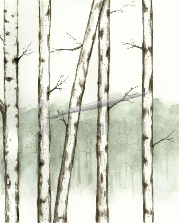 birch-tree watercolor calendar
