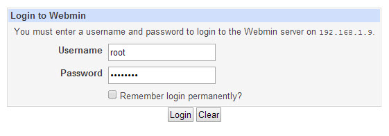 Log in Webmin