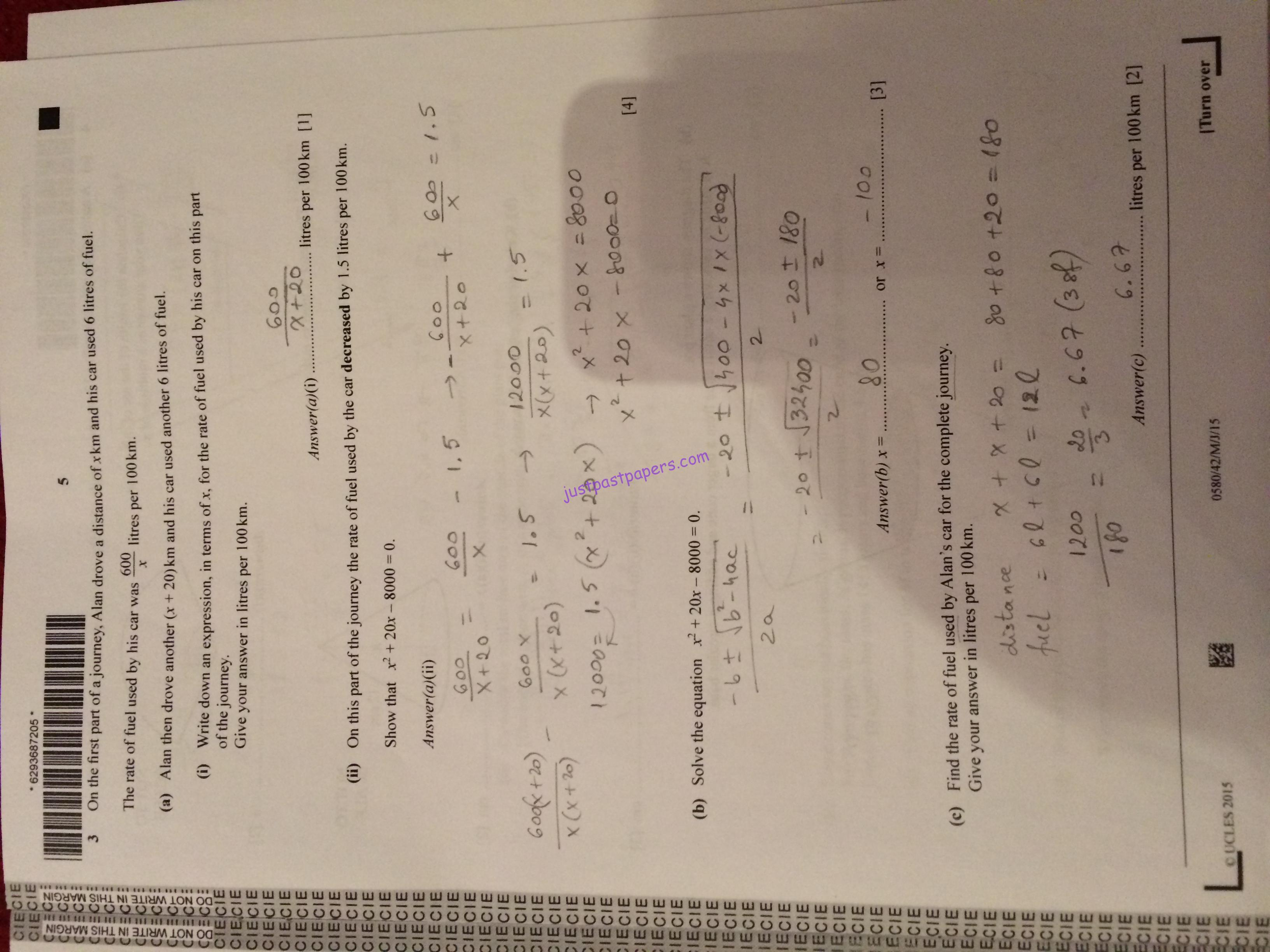 Cie Mathematics Igcse Paper 42 May June Answers Justpastpapers