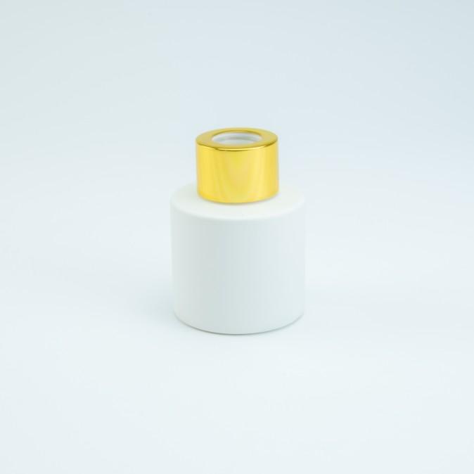 Verpakking - parfumflesje wit met gouden goud schroefdop 50ml