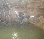Here is me elegantly launching myself into the depths of the cave pool