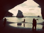 Cathedral Cove selfie silhouette.
