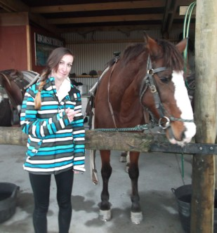Awkward photo with the horse that hates me.