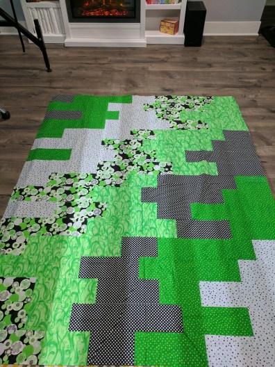 Green Running Bond Brick Wall