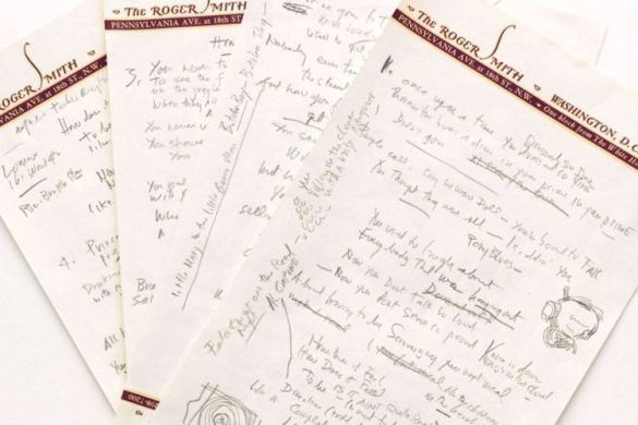 "Handwritten draft of ""Like A Rolling Stone"" written by Bob Dylan himself"