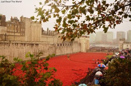 La Tower of London vestita di rosso