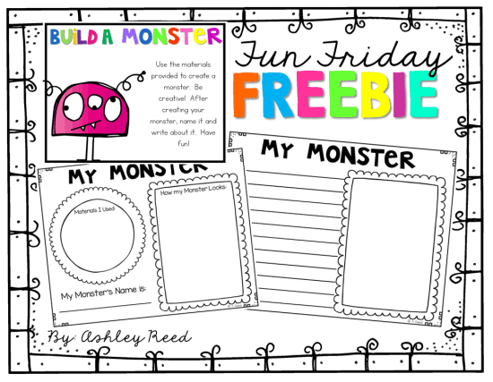 This FREEBIE will have your kiddos entertained for hours! Let them Build a Monster using dollar store trinkets...then write about their monster!  This is perfect for STEAM!