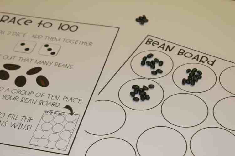 Race to 100 game with dry beans helps students conceptualize place value and the grouping of tens in a concrete way!