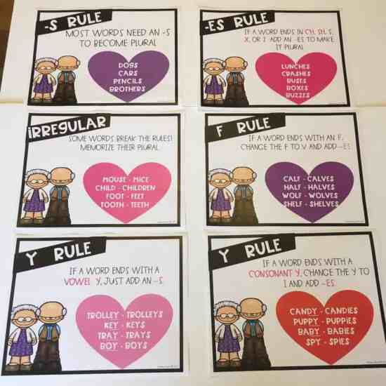 Teach your students about singular and plural nouns during the Valentines season!