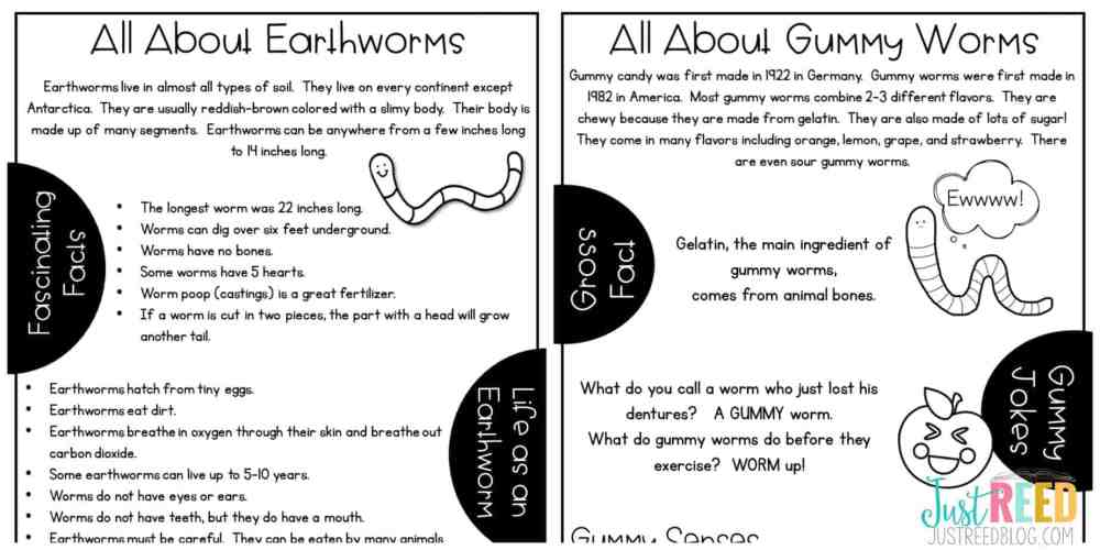 Incorporate reading and lots of interesting facts into your gummy worm and earthworm lab