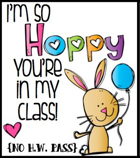 This adorable homework pass from Erica Bohrer makes the perfect candy-free Easter treat.