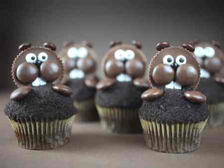 Groundhog Day Cupcakes with Reese Cups
