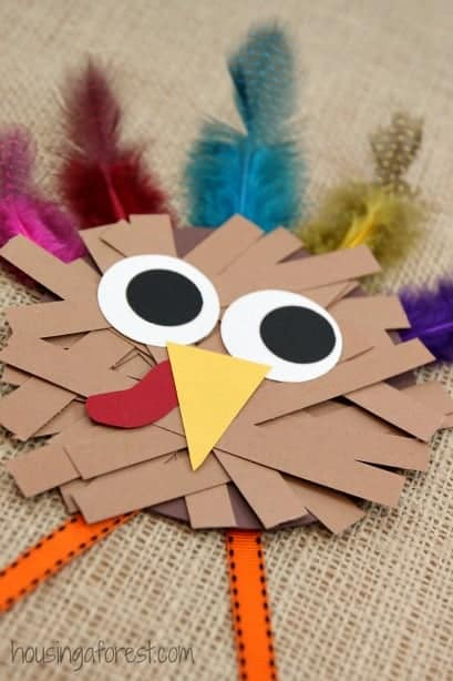This paper strip turkey craft is fun for little learners and incorporates lots of fine motor practice.