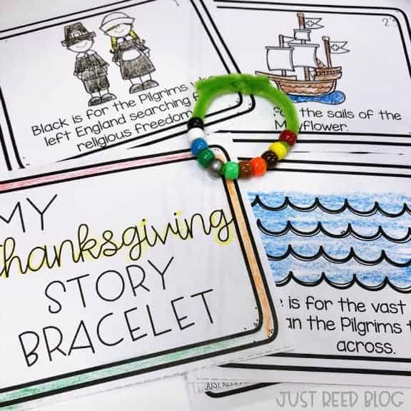 This FREE Thanksgiving Story Bracelet booklet is the perfect project for little learners in November.