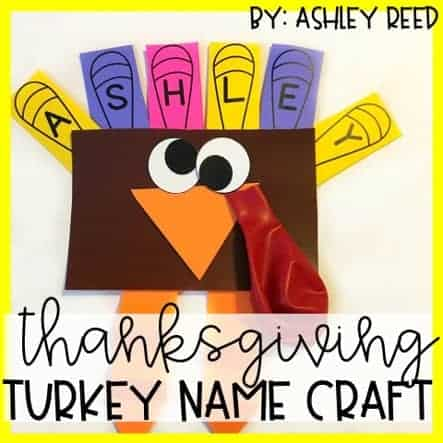 Combine literacy AND crafting with this turkey name craft that's perfect for preschool or Kindergarten!