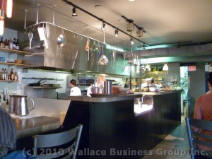 Open kitchen as viewed from the main dining area