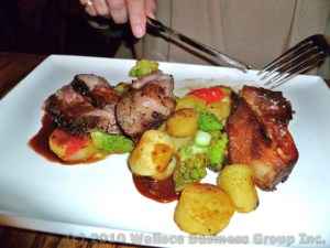 Lamb Sirloin & belly pork with fingerlings and vegetable
