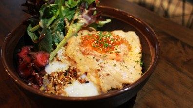 Mentaiko Salmon Aburi ($16)- Salmon fillet with torched mentaiko, ikura, and a sous-vide egg