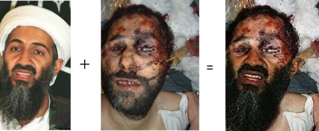 Photoshop trick with Osama's dead body's pic