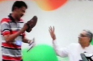 shoe attack on congress leader dwivedi