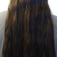 21 inches long 4  inches thick virgin slightly wavy chestnut hair
