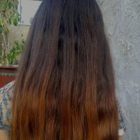 thick healthy brown and honey blonde hair, 9 inches