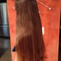 10″ of virgin, chestnut brown hair with natural highlights