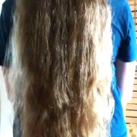Very healthy virgin hair. Honey/ dark blonde with a few strawberry streaks. 23.5 inches for sale.