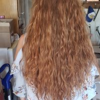 Strawberry blonde virgin hair 16-18in.