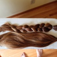 Naturally highlighted wavy golden brown hair