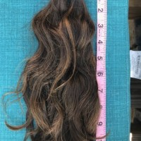 """11 inches of virgin brown hair, two bunches each 2.5"""" thick"""