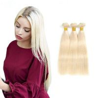 #613 Blonde 1/4 Bundles Brazilian Straight 100% Remy Human Hair Extensions Weft