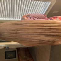 12-15 inches virgin blonde straight hair with natural gold highlights