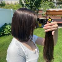 Golden brown virgin hair, 12 inches long, straight