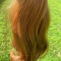 14 inch Virgin Ginger / Strawberry Blonde THICK ( 3.5 inch diameter around tight ponytail)