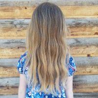 "10"" wavy blond child's hair, 2"" thick"