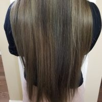 12 inch bleached semi-permanent colored straight hair